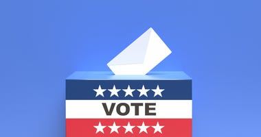 USA flag ballot box and envelope on blue background