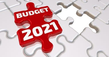 Folded white puzzle elements and one red with text BUDGET 2021