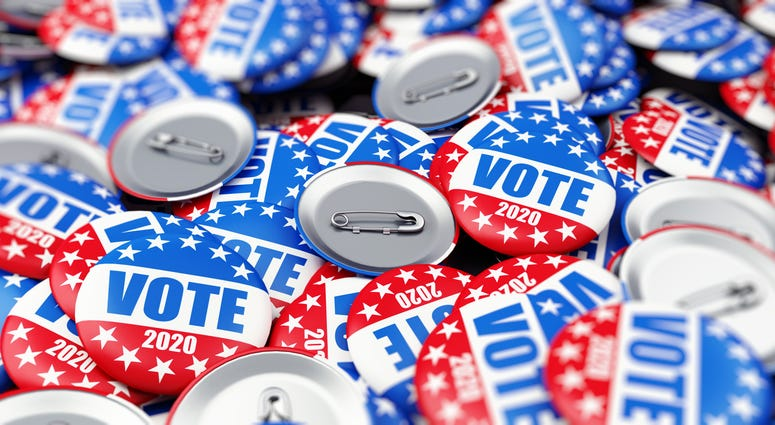 vote election badge button for 2020 background