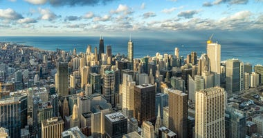 Aerial view of Chicago skyline panorama