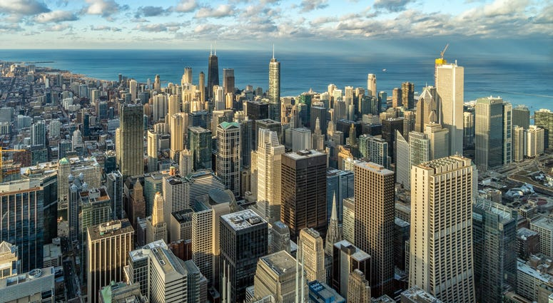 Aerial view of Chicago skyline panorama