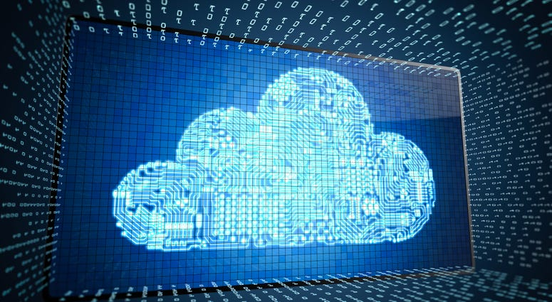 Cloud computing technology concept with 3D rendering digital screen with circuit cloud display