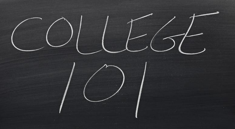"""The words """"College 101"""" on a blackboard in chalk"""