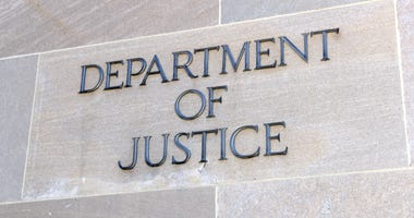 Department of Justice sign, Washington DC, USA
