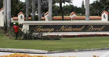A sign at the front entrance to the Trump National Doral golf resort
