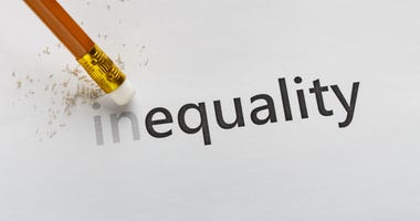 Erase part In in word Inequality with pencil eraser on white background