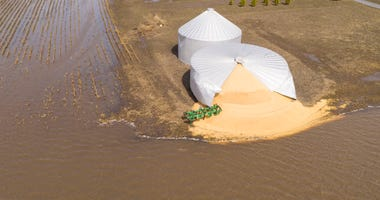 Iowa farm silo burst by Midwest flooding March 2019