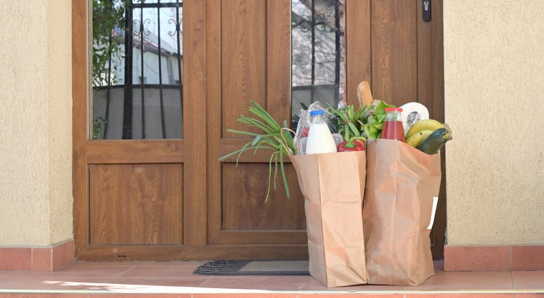 Bags of food on a home's doorstep