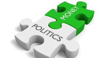 Two connected puzzle pieces with the words politics and money