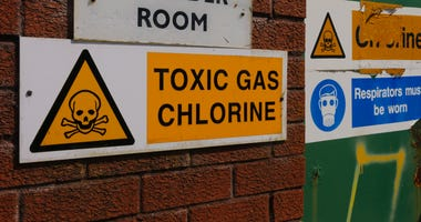 Signs warning of the presence of Chlorine gas