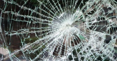 Shattered glass from heavy accident