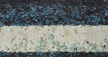 Broken glass on the roadway