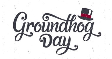 Groundhog Day lettering greeting