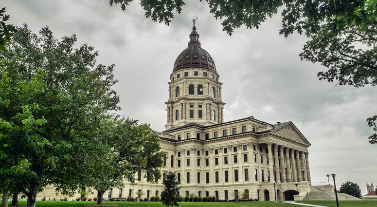 The Kansas state capitol building in downtown Topeka - stock photo