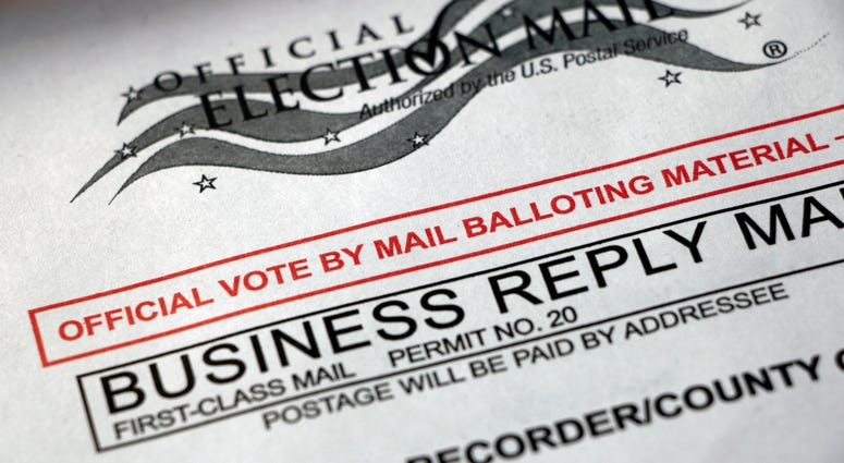 Closeup of a Vote by Mail envelope