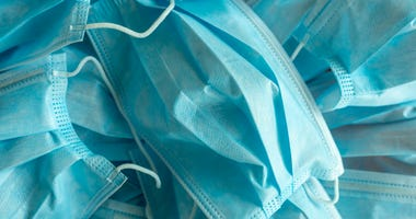 Blue surgical protective masks
