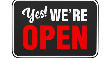 """""""Yes We're Open"""" Sign isolated on white background"""