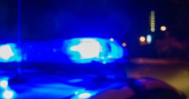 Lights of police car in night time, crime scene