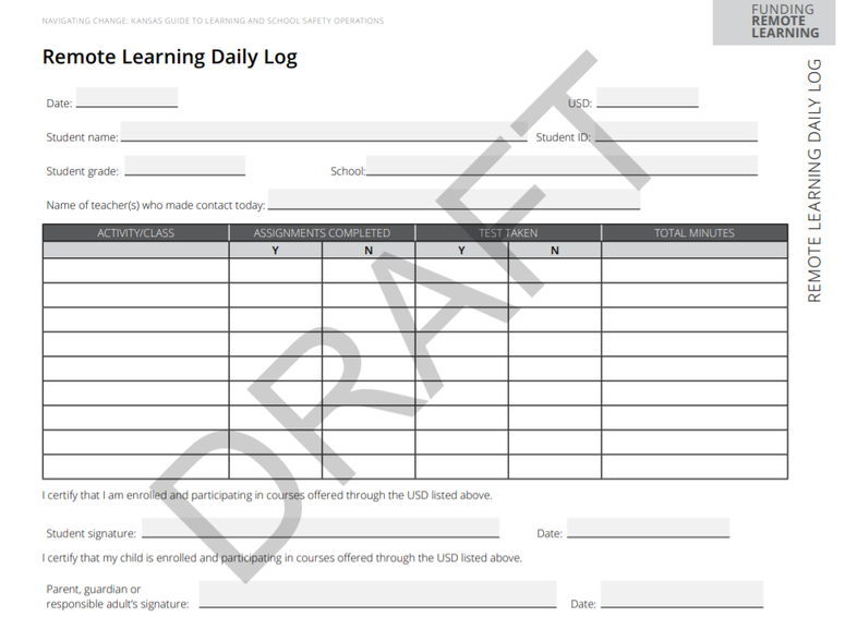 Remote learning log draft