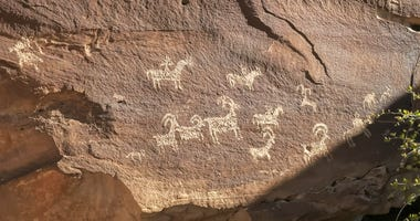 Native American art on a rock face
