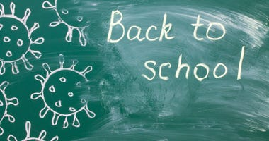 White chalk writing on a green chalkboard - back to school