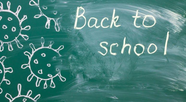 White chalk writing on a green chalkboard - back to school