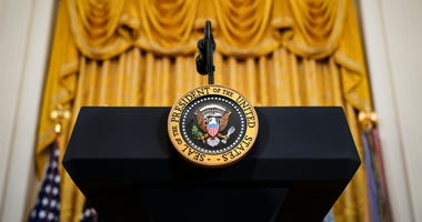 Podium with the Presidential seal