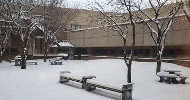 Snow at the KNSS studios: Friday, January 1st