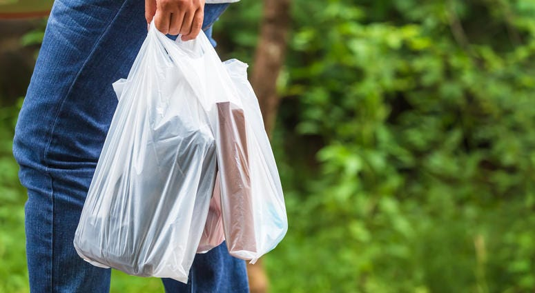 Person walking with filled plastic bags