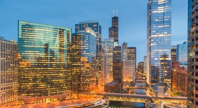 Chicago, Illinois USA skyline over the river twilight