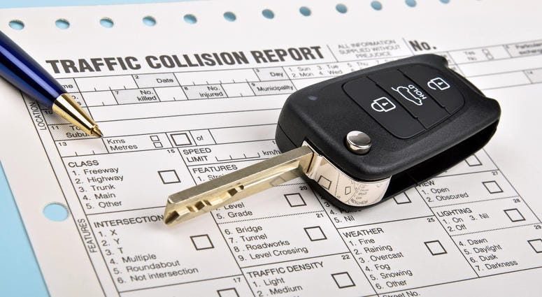 picture of a traffic accident report paper