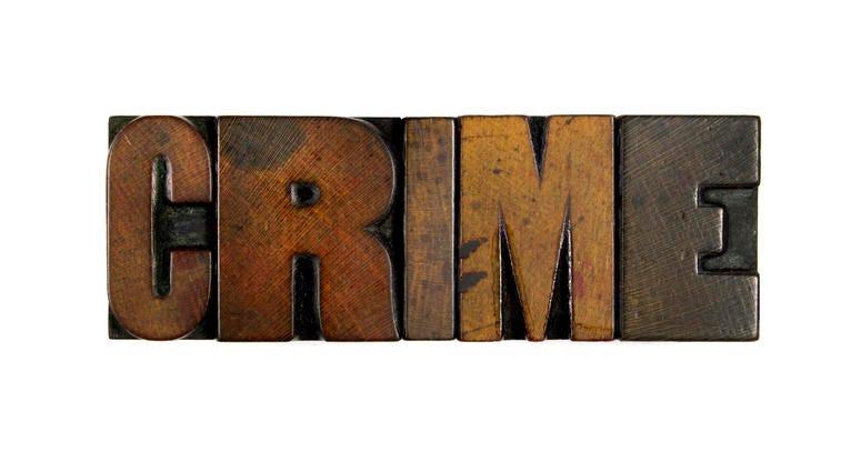 The word CRIME written in vintage wood letterpress type