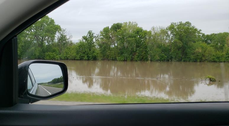 Flooding of Cottonwood River near Emporia, Kansas: May 2019