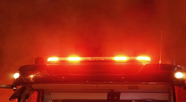 Red lights of a fire engine at night