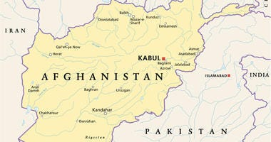Political map of Afghanistan with capital Kabul, national borders, most important cities, rivers and lakes