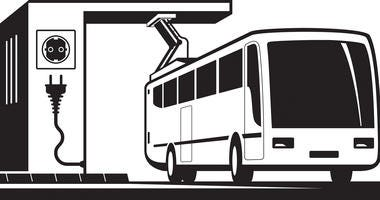 Illustration - electric bus charging station