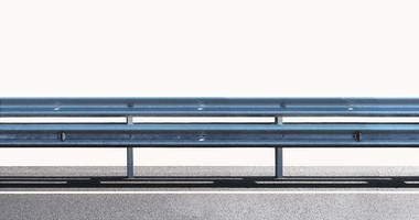Guard rail panorama isolated on white background