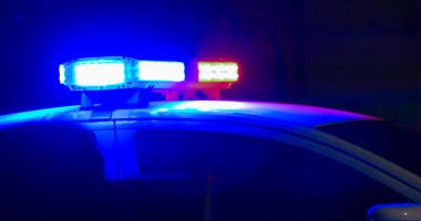 Siren on police car flashing, close-up