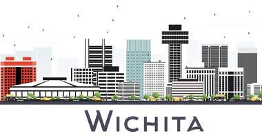 Wichita Kansas City Skyline with Gray Buildings Isolated on White