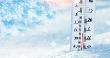 Winter background with thermometer in the snow on frosty day