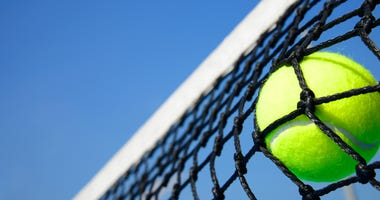 tennis ball in net with blue sky background