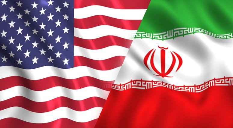 Illustration of U.S. and Iranian flags