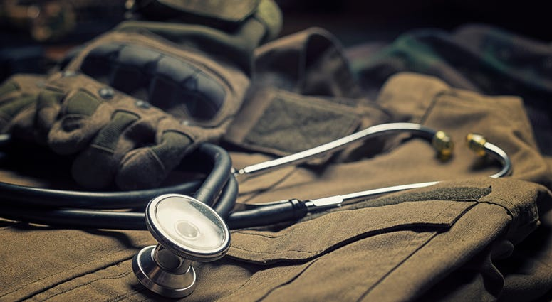 Stethoscope lies on the uniform of a US soldier