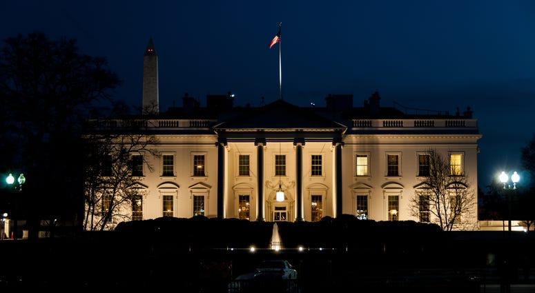 The Whitehouse in Washington DC illuminated after dark