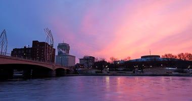 Wichita, Kansas - downtown buidlings across Arkansas River