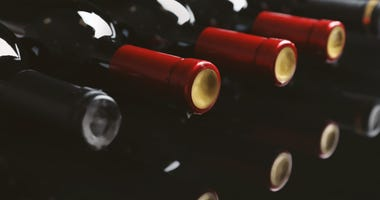 Closeup picture of bottles of wine