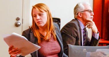 Tilli Buchanan is seen in Judge Kara Pettit's Third District Courtroom with her attorney Randy Richards, Nov. 19, 2019.