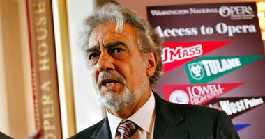 Placido Domingo, general director of the Washington National Opera, speaks during a news conference in Washington about a simulcast of a performance of La Boheme.