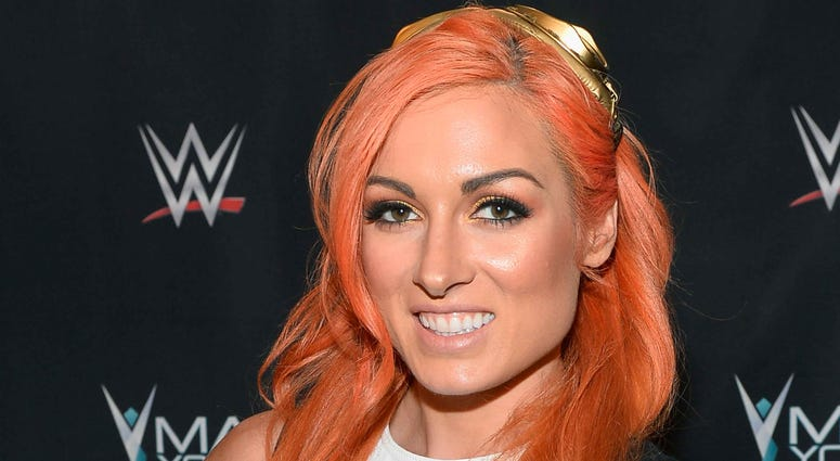 WWE star Becky Lynch appears on the red carper in 2017.