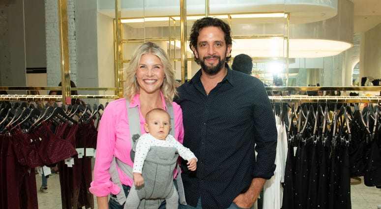 Amanda Kloots and Nick Cordero attend the Beyond Yoga x Amanda Kloots Collaboration Launch Event on August 27, 2019 in New York City.